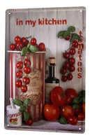 Cartel de hojalata para decoración de restaurante Platón de Metal para cocina de albahaca de tomate