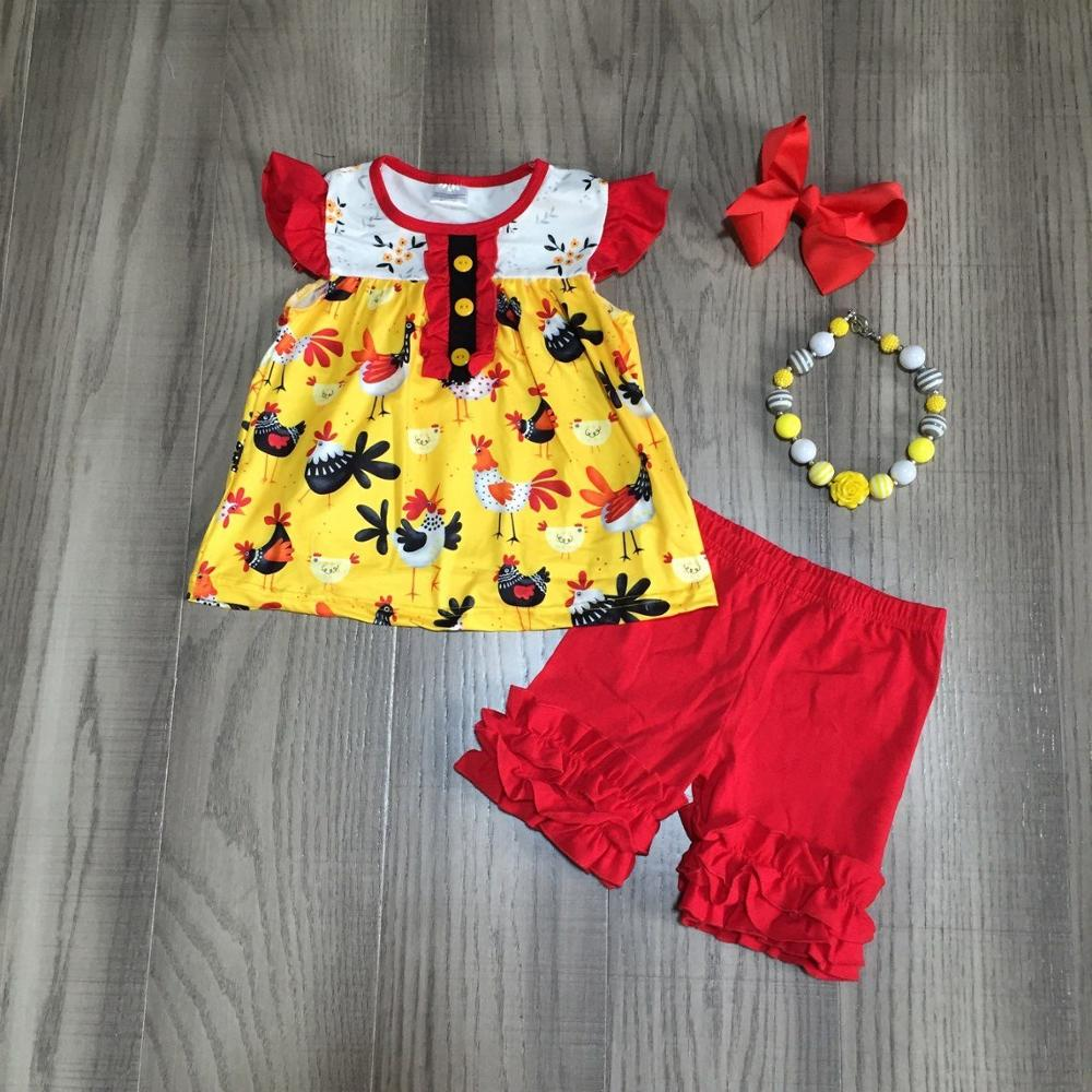 Baby Girls Summer Outfits  Girls Chook Print Top With Red Ruched Shorts Girls Farm Outfits With Accessories