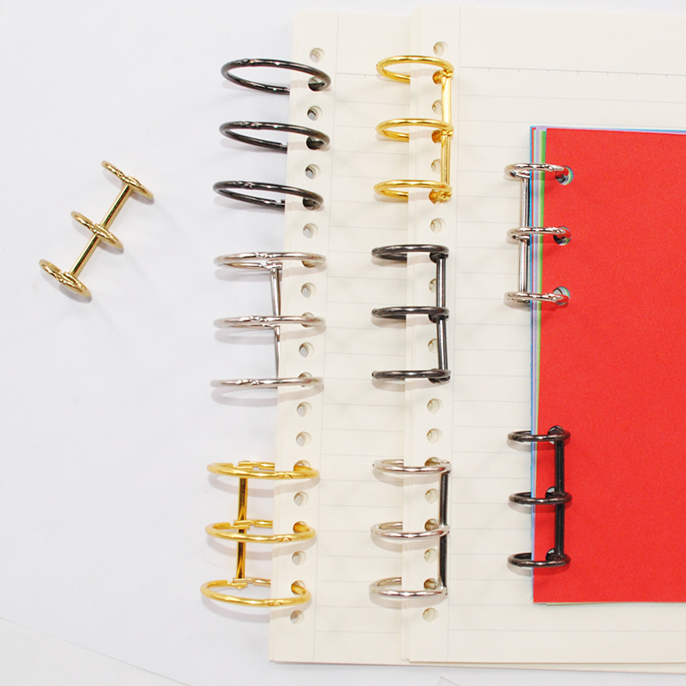4pcs Metal 3 Rings Notebook Hinged Rings Binder Loose Leaf Circle Binding Clip Album Spiral Binder Rings Scrapbook Accessories