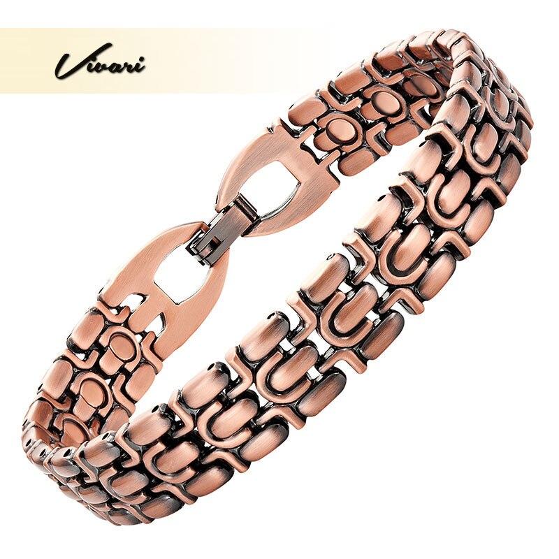 Vivari Men 21pcs Magnets Bracelet Gift Jewelry Copper Plating Magnetic Healing Magnetic Health Bangle Wristband Charm