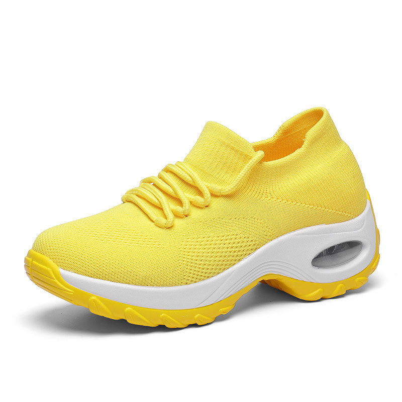 Image 2 - MWY Wedges Shoes For Women Yellow Sneakers Comfort Ladies Trainers Women Casual Shoes Platform Shoes Plus Size Chaussures Femme-in Women's Vulcanize Shoes from Shoes