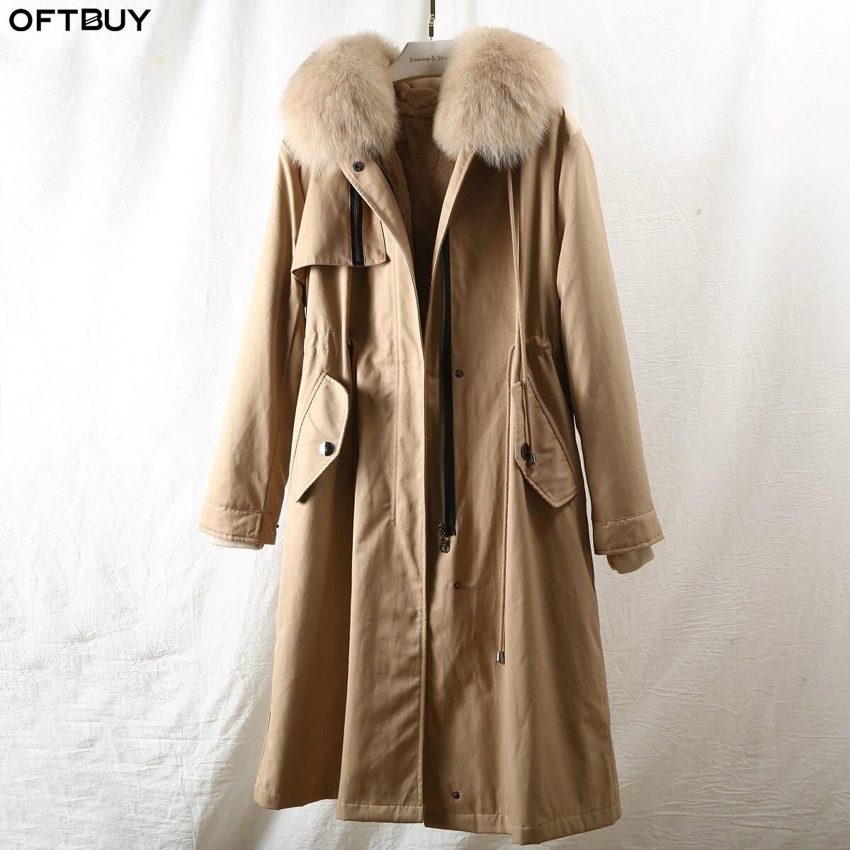 OFTBUY 2019 Real Fox Fur Collar Hood Coat Long Parkas Winter Jacket Women Natural Rabbit Fur Lining Detachable Outerwear Luxury