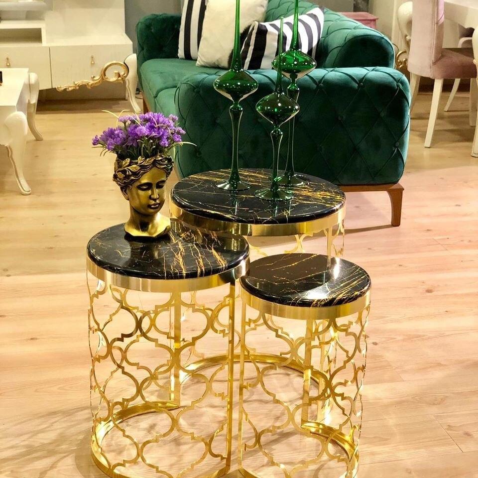 Gold Zigon Coffee Table 3 Lu Coffee Table Made In Turkey Membrane Modern Home Rich Trendy Models Decor Metal