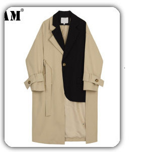 [EAM] black plaid big size Knitting Cardigan Sweater Loose Fit V-Neck Long Sleeve Women New Fashion Autumn Winter 2019 1K356 51