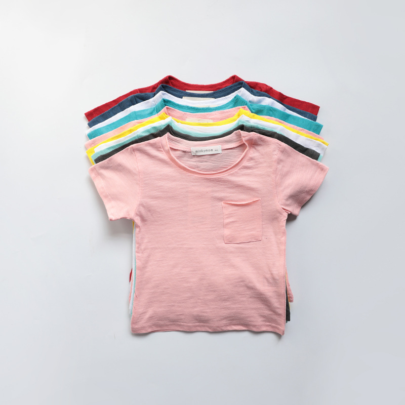 Pre-sale New Girls Soft Cotton Short Sleeve T Shirt Children Kid Summer Top Tees <font><b>Ribbed</b></font> Solid <font><b>Tshirt</b></font> <font><b>Baby</b></font> Girls Boys Shirts image