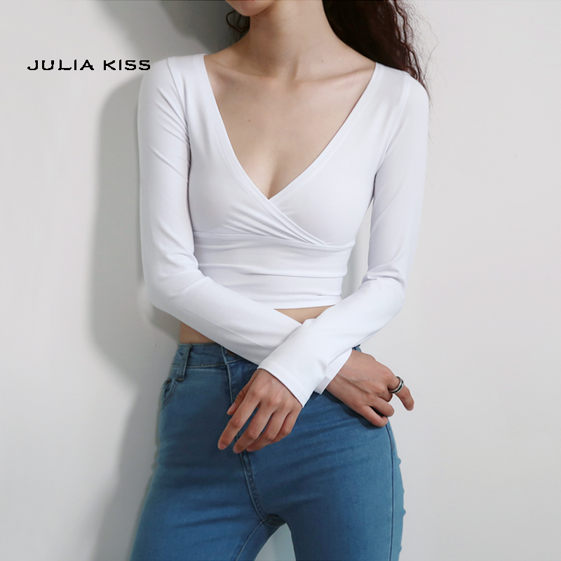 Women Cotton Blend Crossover V-neck Long-Sleeve Cropped Top