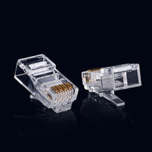 100PCS Hot Selling RJ45 8P8C CAT6 Crystal Head Modular Plug Gold Plated Network Clear High Qaulity Electrical Connector