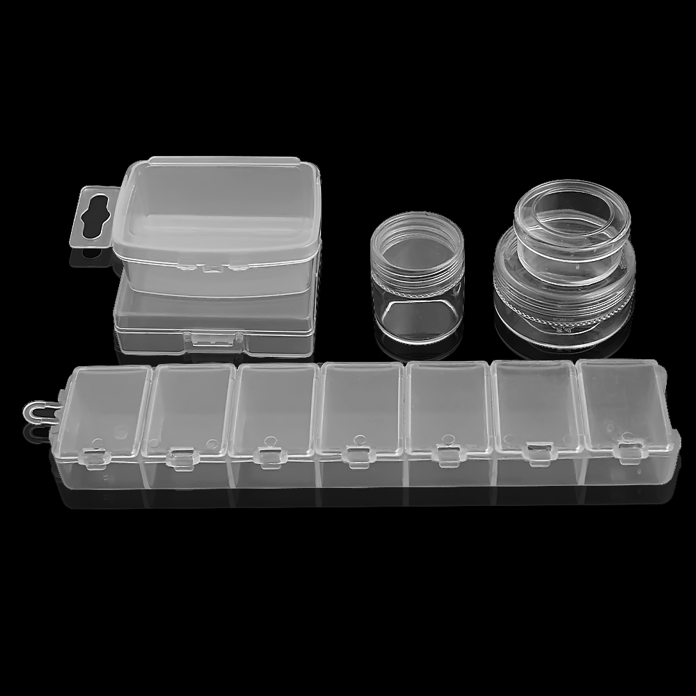 White Plastic Storage Jewelry Box Compartment Adjustable Container For Beads Earring Box For Jewelry Rectangle Round Box Case
