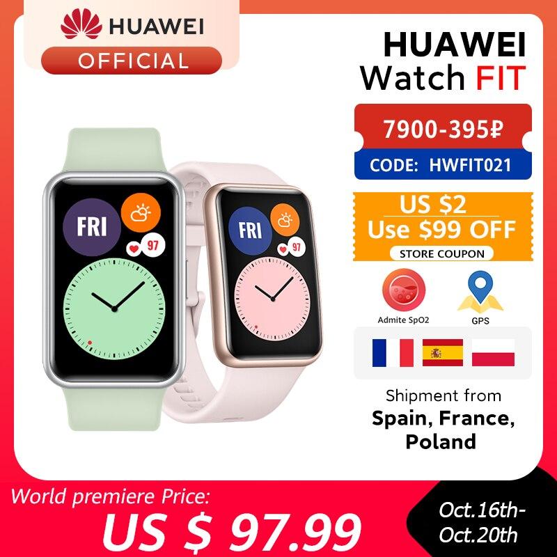 En Stock, versión Global, reloj HUAWEI FIT SmartWatch, animaciones de entrenamiento rápido, reloj de oxígeno en sangre, apto para 10 días de duración de la batería|Relojes inteligentes|   - AliExpress