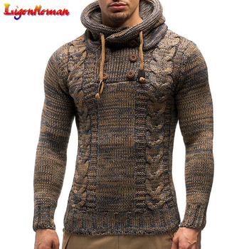 Autumn Winter Men's Hooded Sweaters Men's Slim High Round Neck Sweater Long-sleeved Shirt Male Jumper Fashion Casual Sweaters