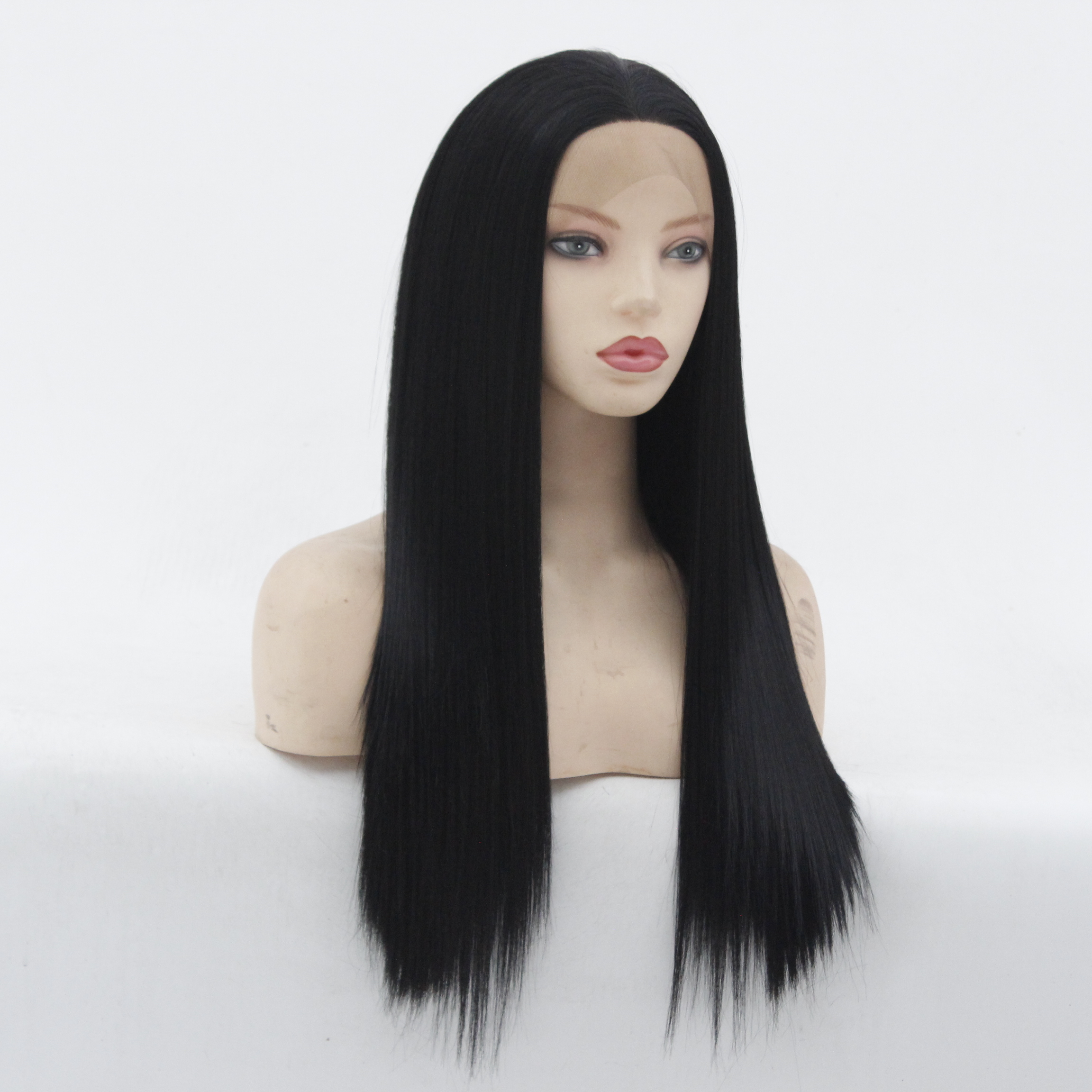 MRWIG Light Yaki Synthetic Hair Lace Front Wig/no Lace Wig Middle Part 3-4inch Baby Hair 1b# Woman Glueless Lace Wig