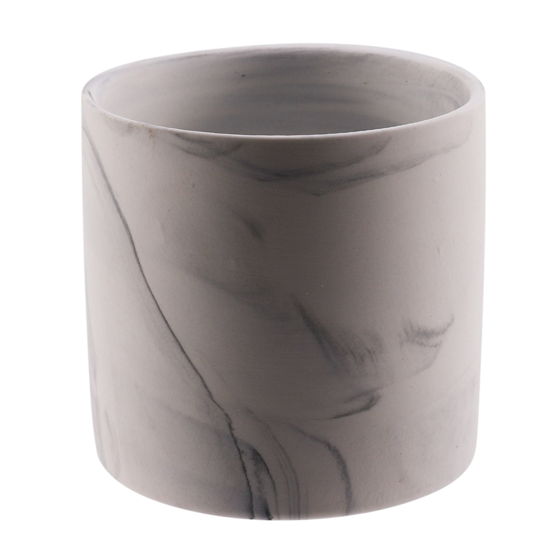 Cilindro cerâmico da vela do potenciômetro da vela do recipiente da vela do copo da vela da grão de mármore