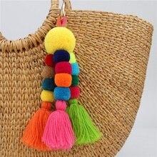 2019 Multi-layer Color Tassel Key chain plush Keychains Woman  Bag Charm Gift Fashion High quality Pendant keyring