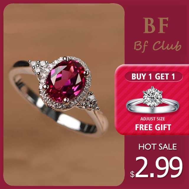 925-Sterling-Silver Ring Zircon Silver Jewelry Oval Ruby Gemstone Woman CLUB BF Party title=