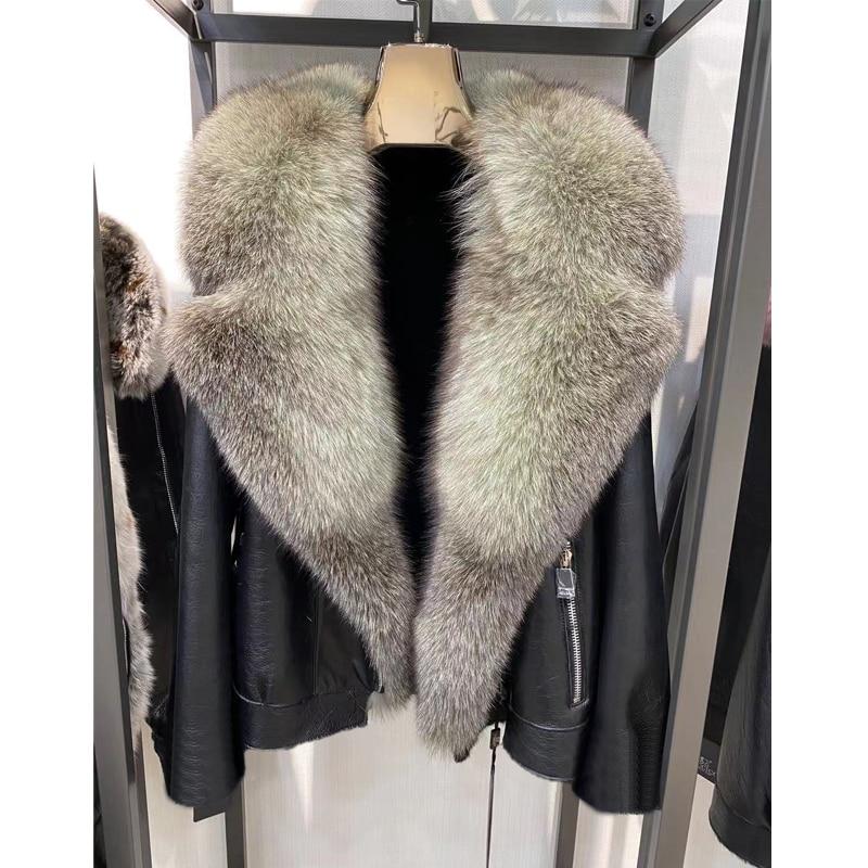 H5f183206eeaf41e7915470c6f431b5ae8 Winter Real Fur Coats Natural Women High Quality Genuine Leather Jacket With Big Fox Fur Turn-down Collar Luxury Overcoats 2021