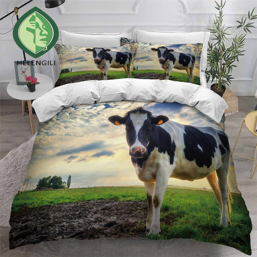 HELENGILI 3D Bedding Set Cow Print Duvet Cover Set Bedclothes With Pillowcase Bed Set Home Textiles #COW24