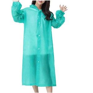 Fashion Eva Women Raincoat Transparent Thickened Waterproof Rain Coats Mens Clear Camping Hiking Waterproof Hooded Rainwear Suit