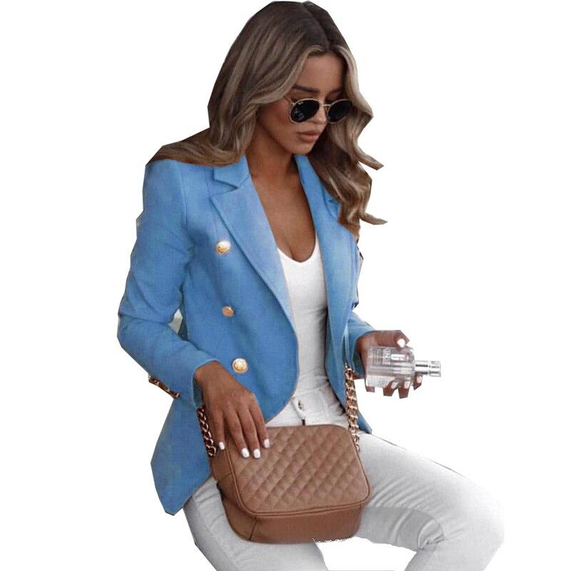 Fashion Blazer Jacket Women Double Breasted Buttons Blazer Plus Size S-3XL Office Ladies Blazer Coats Autumn Female Outerwear