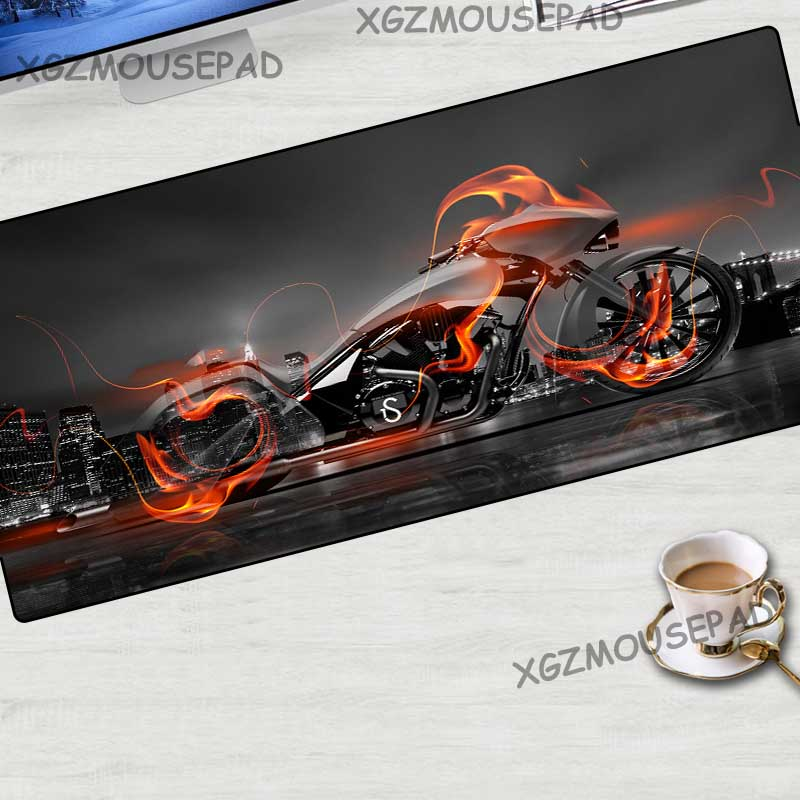 XGZ Fashion Cool Motorcycle HD Large Game Mouse Pad Black Lock Edge Computer Table Mat Rubber Non-slip Custom Couple Coasters