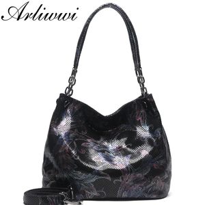 Image 1 - Arliwwi Brand 100% Real Leather Shiny Flower Female Handbags Pewter Chain Genuine Suede Cow leather Embossed Bags GY15