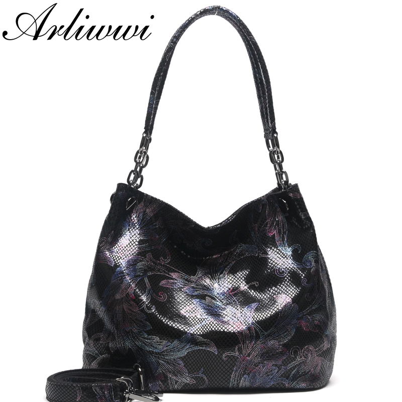 Arliwwi Brand Designer 100% Real Leather Shiny Flower Female Handbags Pewter Chain Genuine Suede Cow Leather Embossed Bags New