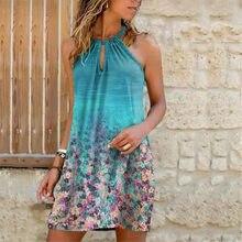 2021 summer fashion trend new women's dress suspender neck printed dress