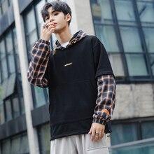 Autumn New Hoodies Men Fashion Lattice Stitching Casual Hooded Sweatshirt Man Streetwear Wild Loose Hip Hop Hoodie Hoody