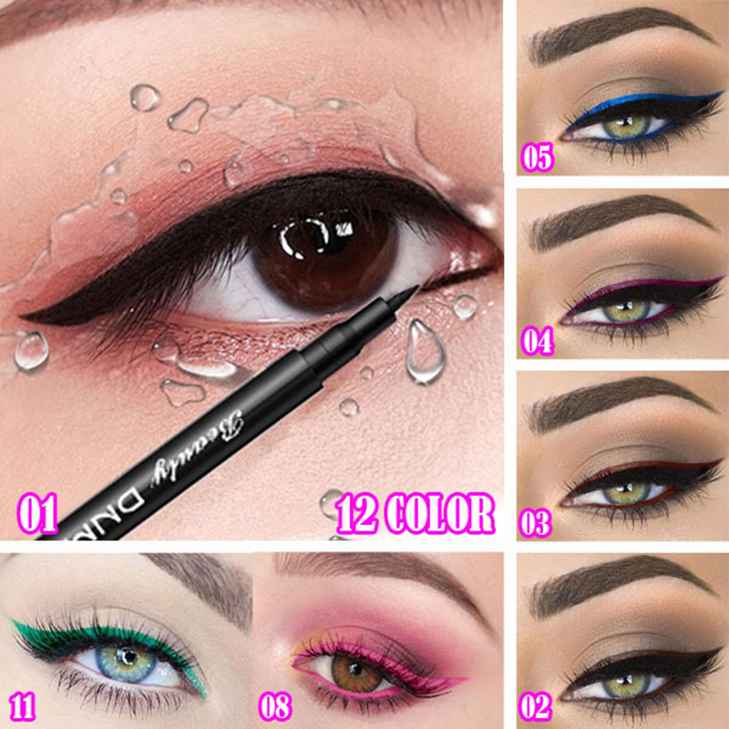 12 Color Matte Liquid Eyeliner Pencil Party Durable Natural Black Blue Party Long-lasting Waterproof Pigment Eye Liner TSLM1