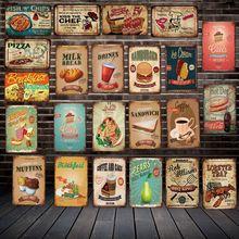 [ DecorMan ] FAST FOOD Drink PIZZA BBQ Muffins CAKES MILK Wall Signs Custom Poster Metal Paintings Bar PUB Decor  LT-1794