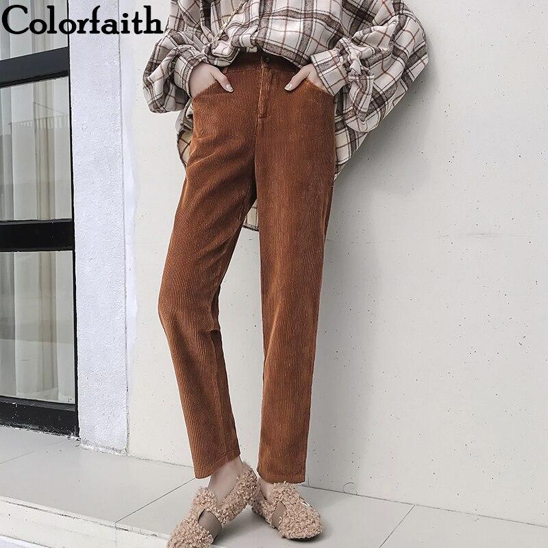 Colorfaith New 2019 Autumn Winter Women Pants Straight Corduroy Warm Minimalist High Waist Korean Style Ankle-Length Pants P193