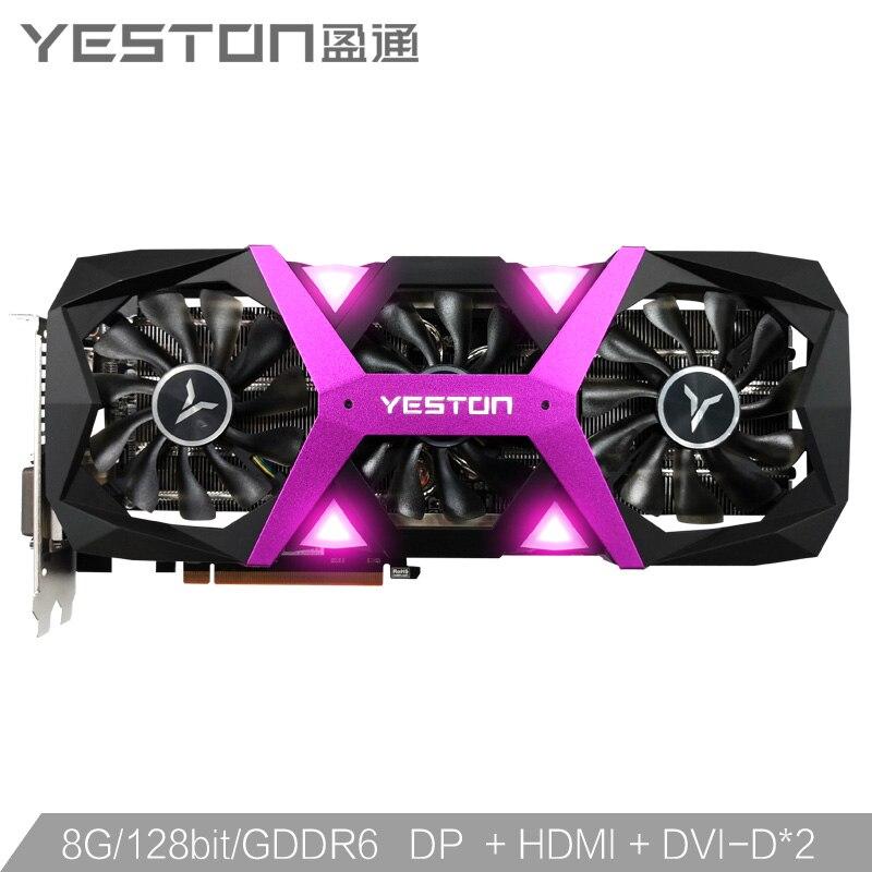 Yeston Radeon RX5500XT GPU 8G/128bit/DDR6/7nm PCI Express x16 3.0 video gaming graphics card HDMI+DP+DVI-D*2 for desktop 1