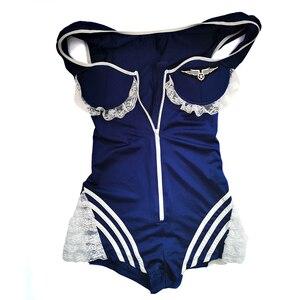Image 4 - JSY seksi hava hostes üniforma fermuar mavi takım havayolu hostes kostüm kıyafet şapka bodysuit eldiven yaka 9916 içerir