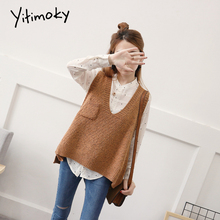 Oversized women sweater vest Autumn winter plus size women sweaters Fashion V neck casual knitting pullover with pocket