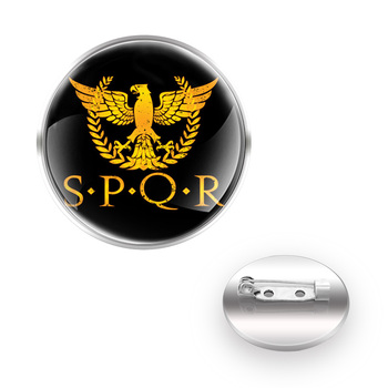 Classic SPQR Roman Empire Design Decoration Brooches Collar Pin Glass Convex Dome Fashion Accessories Gift image
