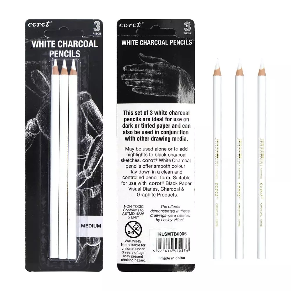 3Pcs White Highlight Sketch Charcoal Standard Pencil Set for Drawing Painting Office School Stationery Art Supplies