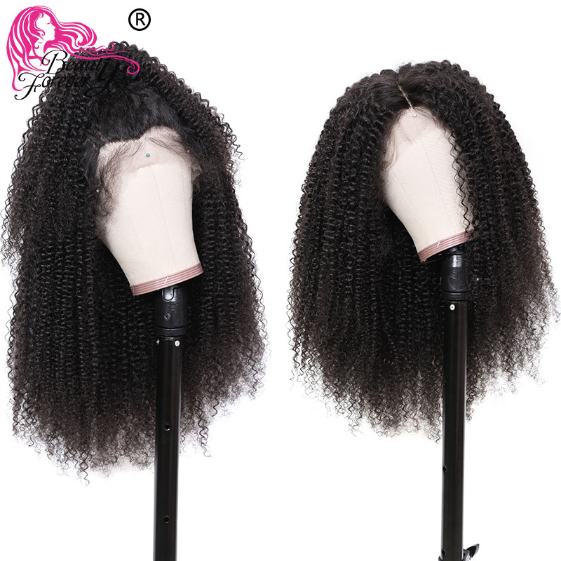 Beauty Forever 13 4 6 Brazilian Kinky Curly Front Lace Wig 150 Density Remy Hair Pre