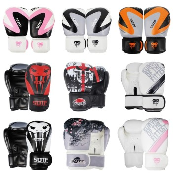 SUOTF MMA Thick fighting Boxing Sports Leather Gloves Tiger Muay Thai boxing pads fight Women/Men sanda boxe thai glove box mma