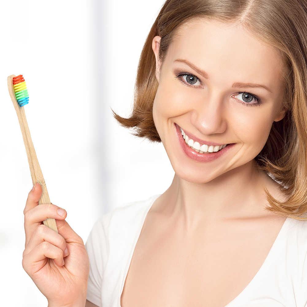Ochrony środowiska kolorowe szczotka szczoteczka bambusowa Rainbow szczoteczka bambusowa do pielęgnacji jamy ustnej miękka szczoteczka ustna troszczy się o dostaw nowy