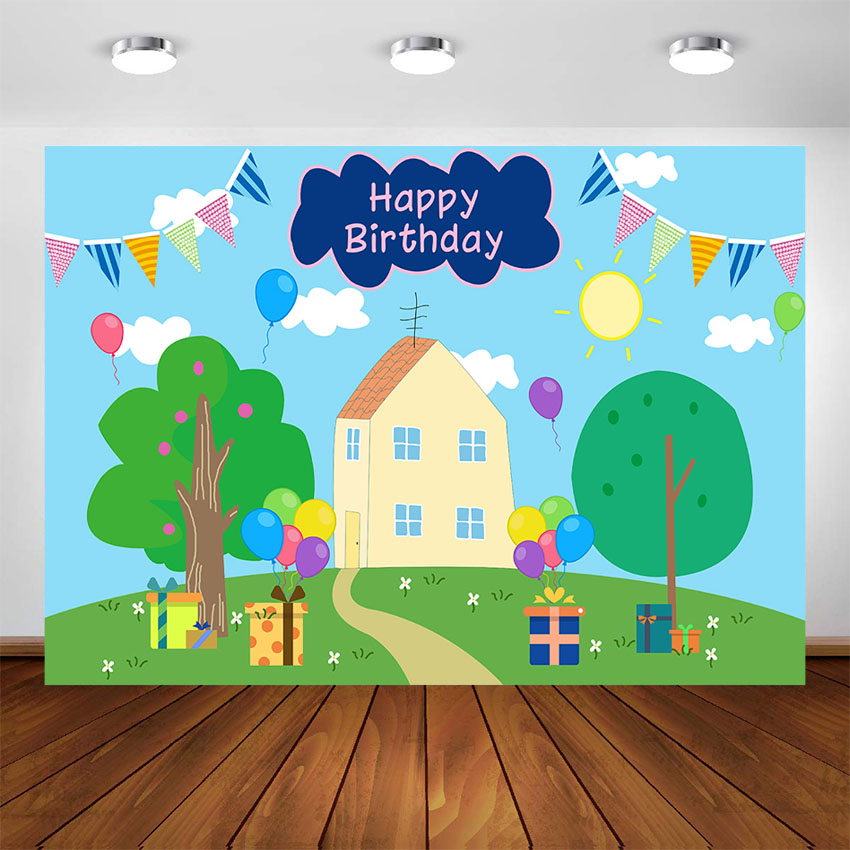 Pig Birthday Party Photography Backdrop Pig House Blue Banner Photo Background Birthday Baby Shower Kids Cake Table Decorations