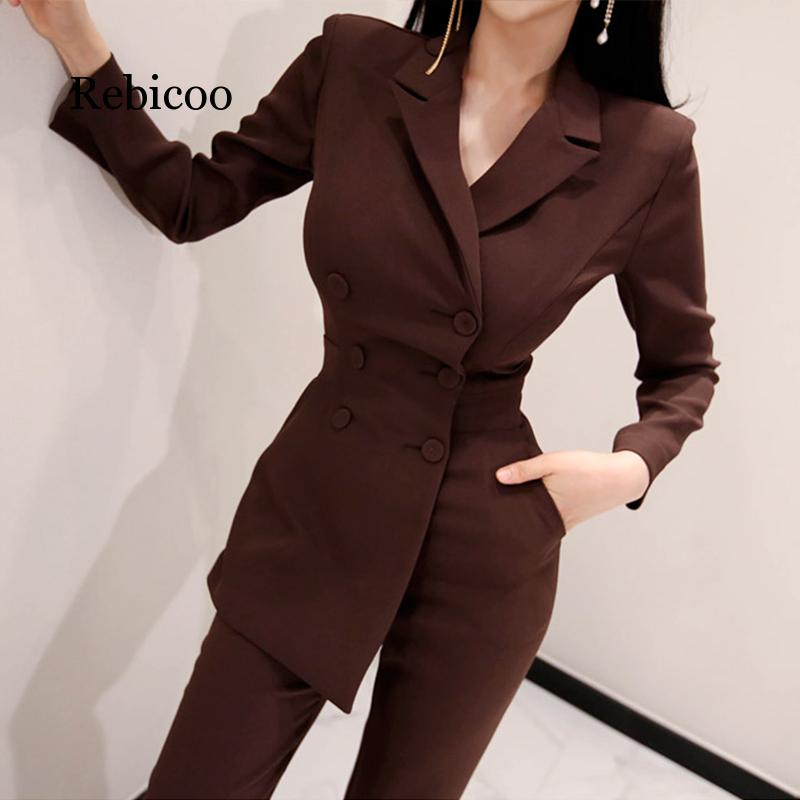 Office Ladies Irregular Double Breasted Women Jumpsuit Notched Elegant Ankle-length Pant Jumpsuits Slim Waist Long Playsuit