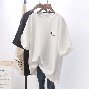 2020 t-shirt Top T Shirt Women Tshirt Loose Smile White Short Sleeve Girls New Woman Generation WBXT211
