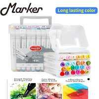 24/48/60/80/120 conjunto de marcadores de Arte de Color de doble cabeza dibujo de artista de Alcohol aceitoso Manga marcador materiales de arte profesional para dibujar