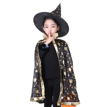 Halloween Witch Cloak Hat Cosplay Costume Masquerade Performance