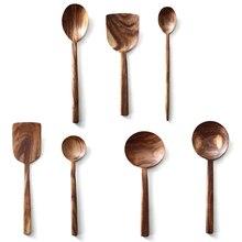 Kreative Spachtel Teak Küche Haushalt Nicht-Stick Pan Spachtel Massivholz Löffel Lange-Griff Mischen Löffel Geschirr Set
