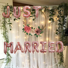 Um a quatro 16 Polegada apenas casado balões da folha decoração do casamento balões de ouro rosa decoração do chuveiro nupcial fontes de festa