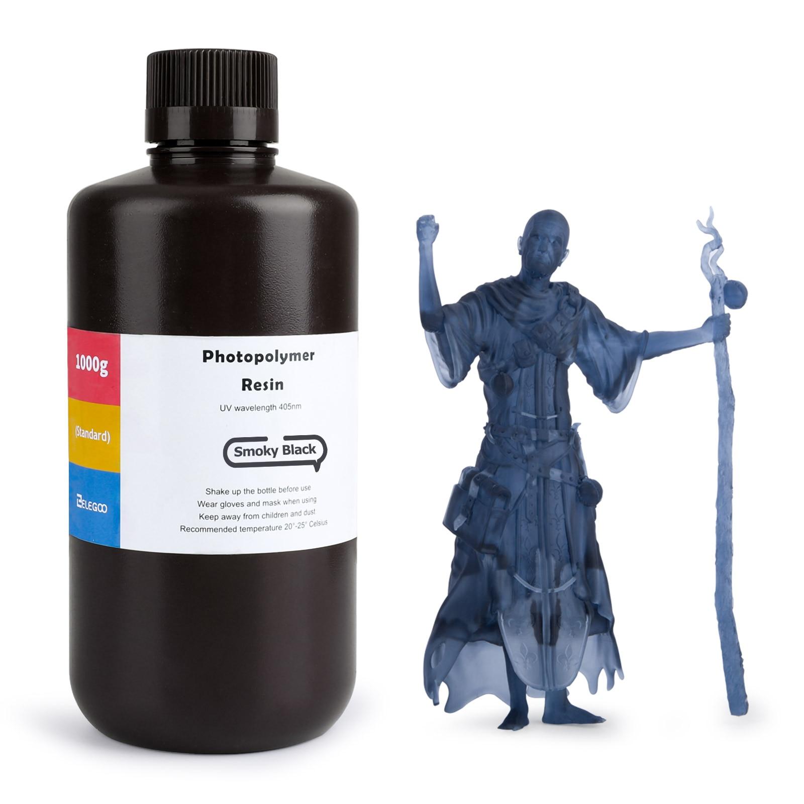 Смола ELEGOO для 3D-принтера из АБС-пластика, 405 нм, УФ-смола, стандартная Фотополимерная смола для ЖК-3D-принтера, дымчато-черный, 1000 мл