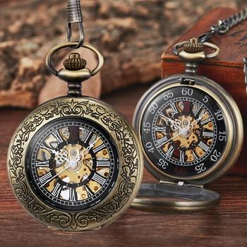Steampunk Automatic Mechanical Skeleton Pocket Watches Men Women Retro Luxury Brand Hand Wind Necklace Pocket & Fob Chain