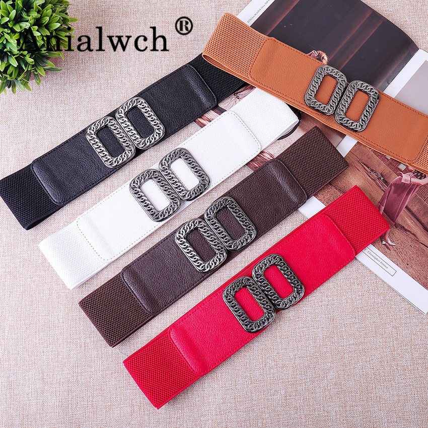 66*6cm Square Buckle Retro Elastic Width Women Girdle For Female Belts For Women Belt With Spring Skirt 5 Colour Cummerbund G011