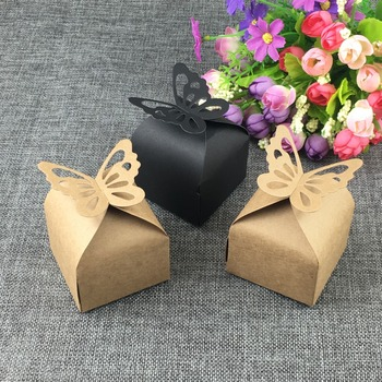 500PCS Butterfly Favor Gift/Candy Boxes Retro Paper Packaging Box Kraft Gift Boxes Wedding Boxes For Jewelry/Chocolates/Gifts