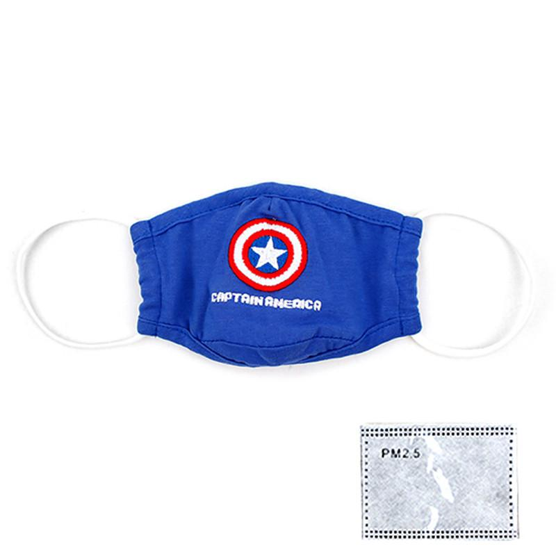 Korean WingHouse Children Mouth Mask Pure Cotton Boy Captain America Shield Filter Mask Anti Pollution Wind Proof Mouth Cover